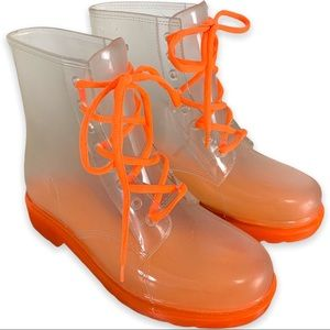 Chinese Laundry Neon Lace Up See Threw Rain Boots